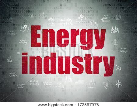 Industry concept: Painted red text Energy Industry on Digital Data Paper background with  Hand Drawn Industry Icons