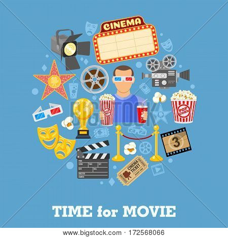 Cinema and Movie time concept with flat icons masks, 3D glasses, clapperboard and viewer with popcorn and soda in hands, isolated vector illustration