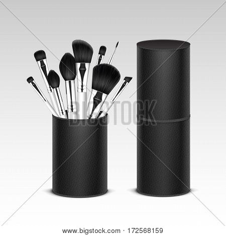 Vector Set of Black Clean Professional Makeup Concealer Powder Blush Eye Shadow Brow Brushes with White Handles in Black Leather Tube Isolated on White Background. 3D