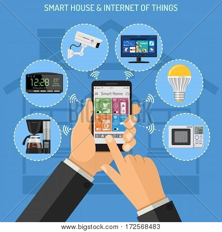 Smart House and internet of things concept with flat icons. Man holding smartphone in hand and controls security camera, coffee maker, TV, microwave and lightbulb. isolated vector illustration