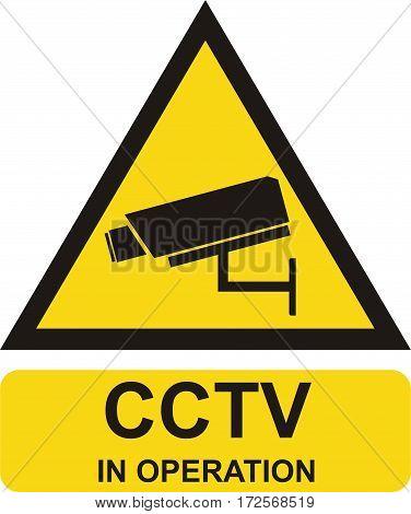 Video surveillance sign. cctv in operation. vector illustration