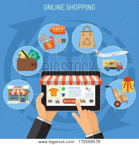 Concepts for Online Internet Technology and Shopping. Man holding tablet in hand, and makes purchase. isolated vector illustration.
