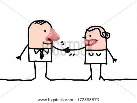 Cartoon people - man and woman handshake