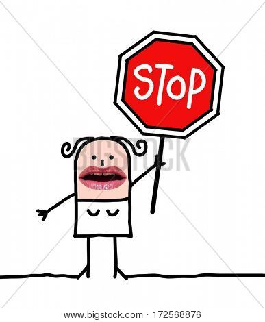 Cartoon people - woman and stop sign