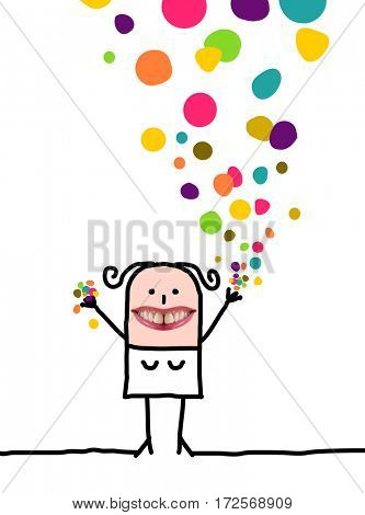 Cartoon people - Happy woman with confetti