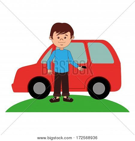young man avatar with car character vector illustration design