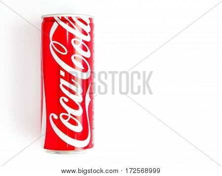 Bangkok Thailand January 27/2017 Classic Coca-Cola can on White Background. Coca Cola Coke is the most popular carbonated soft drink beverage