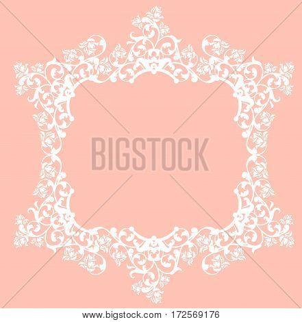 white rose flowers frame - elegant floral lace vector design