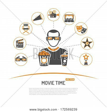 Cinema and Movie concept with two color Icons Set like popcorn, award, clapperboard, tickets, 3D glasses and viewer. Isolated vector illustration