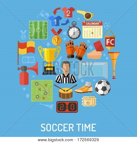 Soccer and Football concept with flat icons Referee, Ball, stadium and Trophy, isolated vector illustration