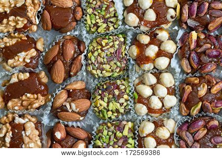 Mix of dried fruits with nuts and carrot