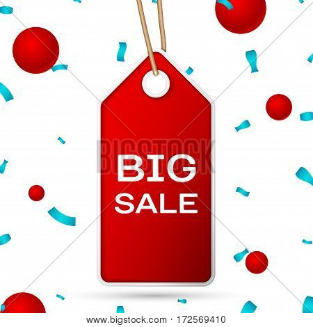 Red pennant with an inscription Big Sale over a white background and confetti. Sale concept for shops store market, web and other commerce. Vector illustration.