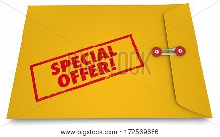 Special Offer Exclusive Discount Sale Envelope Stamp 3d Illustration