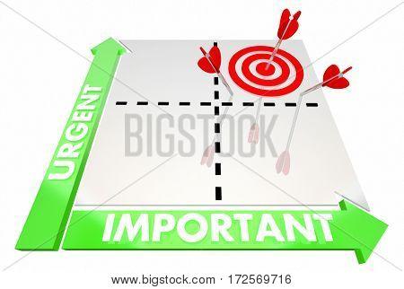 Urgent Vs Important Matrix Top Priorities Target 3d Illustration