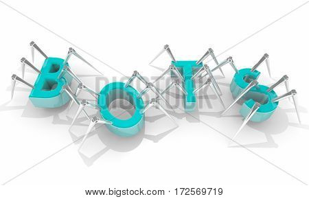 Bots Spiders Internet Crawlers Word Letters 3d Illustration poster