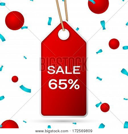 Red pennant with an inscription Big Sale sixty five percent Discounts over a white background and confetti. Sale concept for shops store market, web and other commerce. Vector illustration.