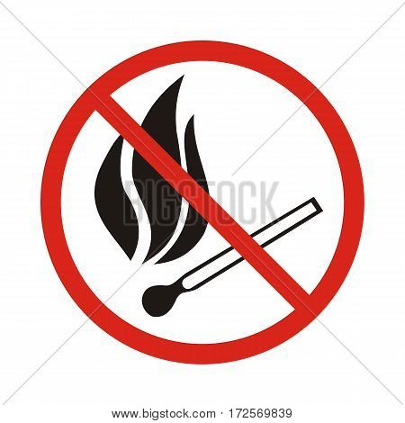 Fire emergency icons. Vector illustration. No open flames.