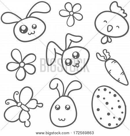 Doodle of bunny egg flower easter theme vector art