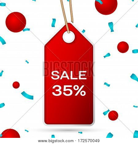 Red pennant with an inscription Big Sale thirty five percent Discounts over a white background and confetti. Sale concept for shops store market, web and other commerce. Vector illustration.