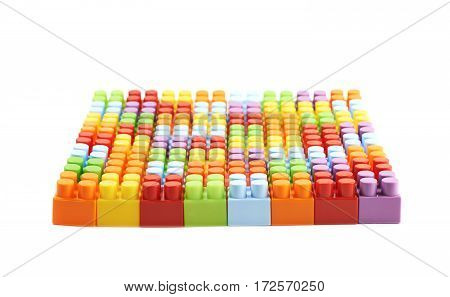 Square shape made of plastic building toy bricks isolated over the white background