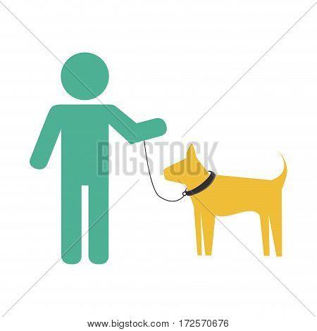man with cute dog mascot icon vector illustration design