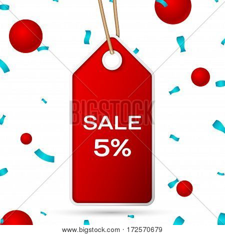 Red pennant with an inscription Big Sale five percent Discounts over a white background and confetti. Sale concept for shops store market, web and other commerce. Vector illustration.