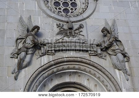 Horizontal image of frontage Sao Torcato church in Guimarães, Portugal.