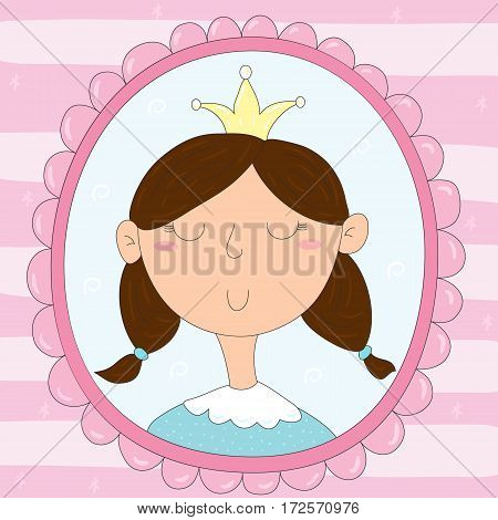 Cute hand drawn portrait of a princess in a frame. vector print