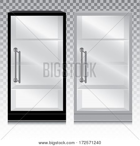 Empty glass cabinet with the door handle on transparent background.