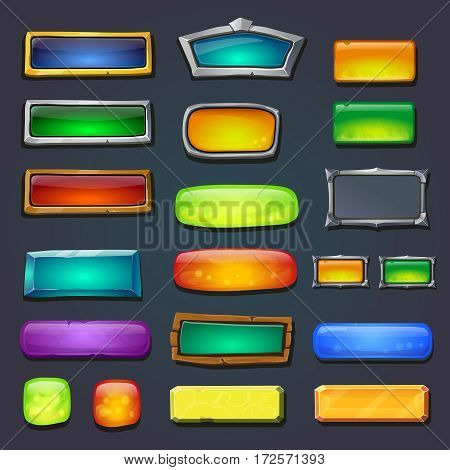 Buttons set, form designed game user interface GUI for gamedesign Options select window. rasterized illustration.