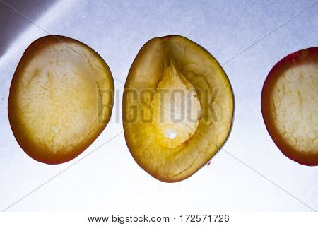 Chopped Plum On A White Background