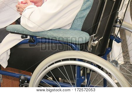 Detail Of Wheelchair Of A Person With Reduced Mobility