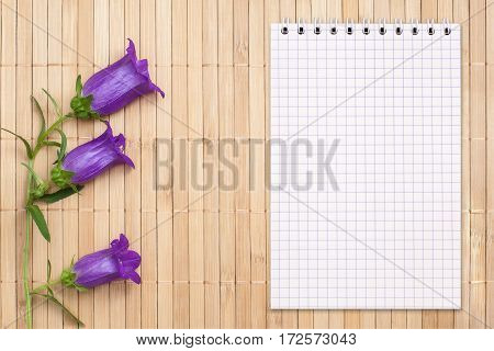 Blank notebook on a bamboo background and bellflower with copy space top view