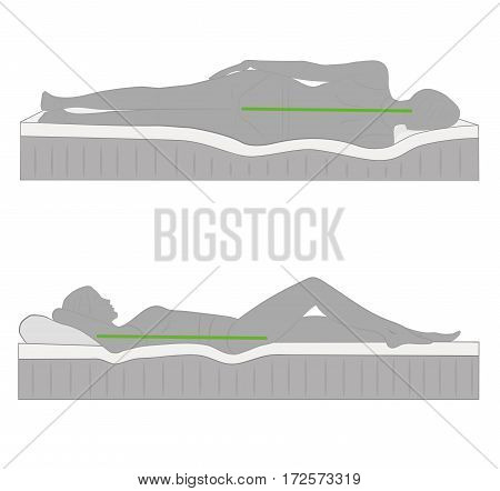 correct posture during sleep. vector illustration .