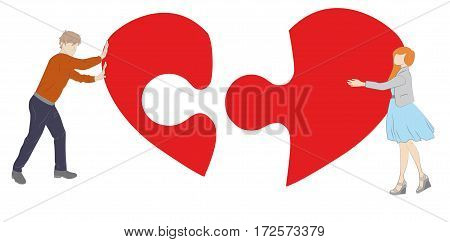 boy and girl collect puzzle of the heart. the concept of a romantic relationship. vector illustration.