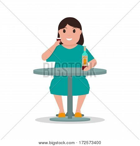 Vector illustration cartoon woman alcoholic drink alcohol alone at table. Isolated white background. Concept of female alcohol dependence, addict human, abuse. Flat style. Woman drunkard.