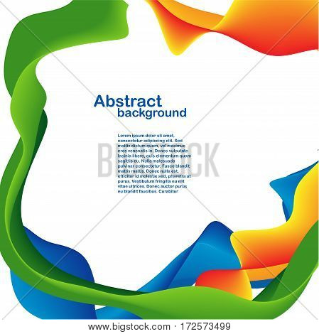 Color shapes and lines backdrop. Yellow, blue, green orange ribbon
