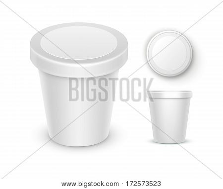 Vector Set of White Blank Food Plastic Tub Bucket Container For Dessert, Yogurt, Ice Cream, Sour Cream with Label for Package Design Mock Up Close up Top Side View Isolated on White Background. 3D
