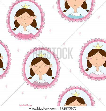 Cute hand drawn portrait of a princess in a frame. vector pattern
