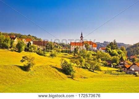 Countryside Village In Slovenia Springtime View
