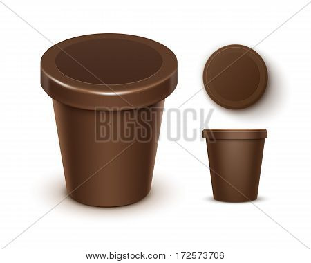 Vector Set of Brown Blank Food Plastic Tub Bucket Container For Chocolate Dessert, Yogurt, Ice Cream with Label for Package Design Mock Up Close up Top Side View Isolated on White Background. 3D
