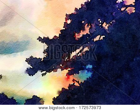 Nice Watercolor Painting of the sky through the trees