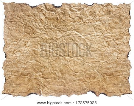 texture of crumpled old paper with burnt edges isolated