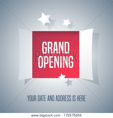 Grand opening vector background with open door. Template design element for opening event can be used as advertising banner or backdrop