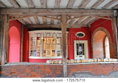 WINCHESTER, UK - FEBRUARY 5, 2017:  Bookshop with second hand books located at the Entrance gate to the old city