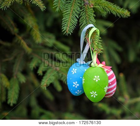 Colourful Easter Eggs On Christmas Tree