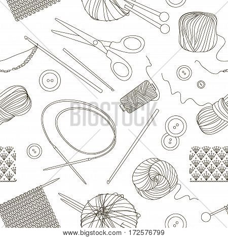Knitting and crochet set pattern. Vector illustration, EPS 10