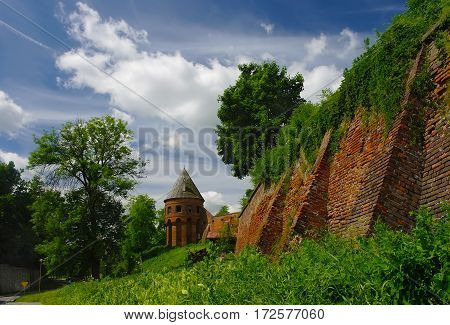 Old Wall Of Benedictine Abbey In Jaroslaw. Poland