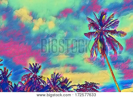Palm tree garden and sunset sky landscape. Digital illustration of tropic nature. Exotic forest with coconut palms. Tree silhouettes on fantastic sky. Coco palm tree background image with text place.