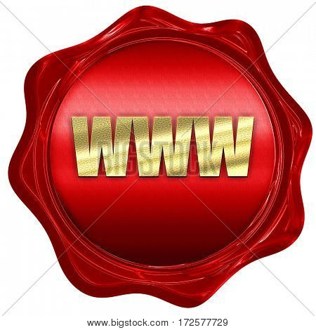 www, 3D rendering, red wax stamp with text